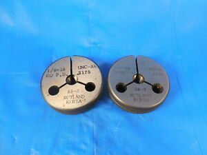 1 4 20 Unc 3a Thread Ring Gages 25 Go No Go P d s 2175 2147 Inspection