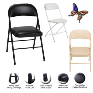 Foldable Portable Faux Leather Padded Desk Chair Office Reception Easy Storage