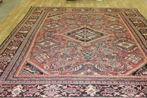 Vintage 9x12 Medallion Mahal Semi Antique Wool Hand Knotted Persian Oriental Rug