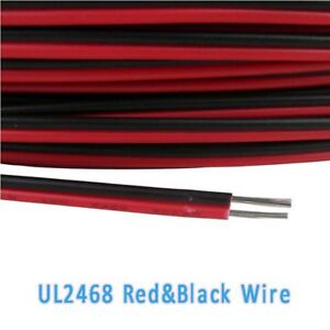 16 28awg Ul2468 Flat Ribbon 2 Core Cable Red Black Stranded Electronic Wire
