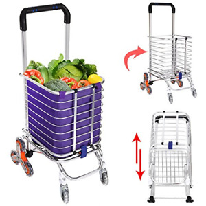 Korie Folding Shopping Cart Stair Climbing Grocery Utility Cart With Rolling