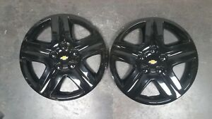 1 Pair 2006 07 08 09 10 11 12 Impala Monte Carlo Hubcaps Wheel Covers Black 3021