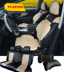 Car Seat Covers Leather Cushion Front Rear 2 Pillows To Bmw 255 Bk tan f