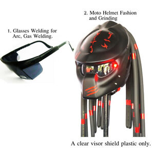 Black Predator Motorcycle Helmet Custom Apply Arc Gas Welding Glasses Welding