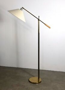 Vintage Mid Century Modern Brass Articulated Counter Balance Task Floor Lamp
