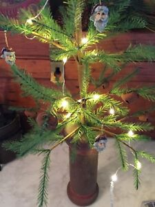 Feather Tree With Antique Bobbin Base Battery Operated Timer Lights W Santa Face