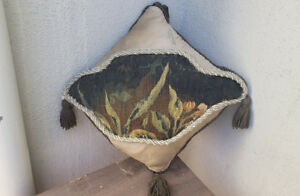A Pillow With Antique Verdure Tapestry