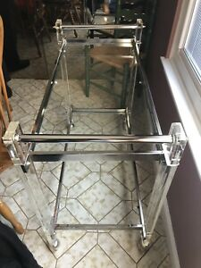 Mid Century Modern Lucite Chrome Table Furniture Tea Cart Liquor Home Decor