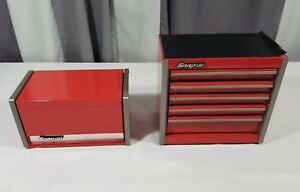 Mini Micro Red Snap on Tool Top Box Chests 5 4 Drawers Set 2 Stackable Units