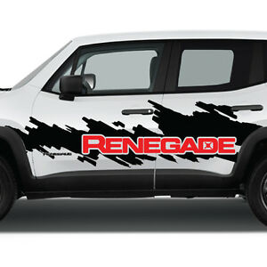 2 Color Jeep Renegade Side Splash Logo Graphic Vinyl Decal Windshield Graphic