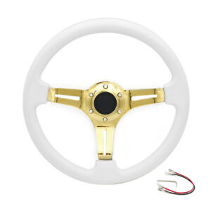 14 350mm White Universal Racing Abs Steering Wheel Fits 6 Hole Car Adapters