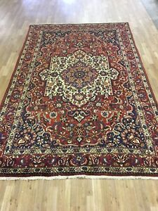 Vintage 6x10 Medallion Bakhtiar S Antique Wool Hand Knotted Persian Oriental Rug
