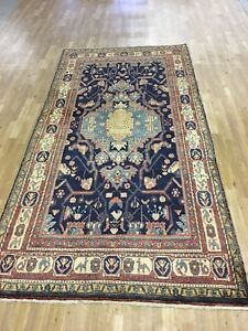 Vintage 5x10 Hamedon Semi Antique Wool Hand Knotted Persian Oriental Rug