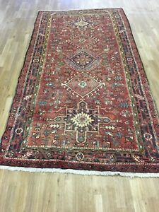 Vintage 5x9 Medallion Heriz Semi Antique Wool Hand Knotted Persian Oriental Rug