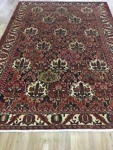 Vintage 7x10 Bakhtiar Flower Semi Antique Wool Hand Knotted Persian Oriental Rug