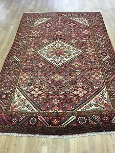 Vintage 6x9 Bourchelo Semi Antique Wool Hand Knotted Persian Oriental Rug