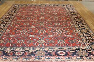 Vintage 9x12 Overall Mahal Semi Antique Wool Hand Knotted Persian Oriental Rug