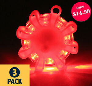 Led Road Flares Emergency Magnetic Disc Roadside Safety Light Beacon pack Of 3