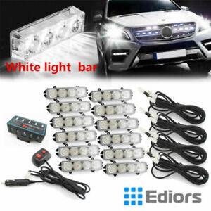 12v 48 Led Blue Emergency Hazard Warning Strobe Flashing Light Bar Us Stock