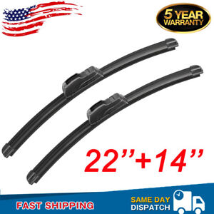 22 14 Front Windshield Wiper Blades Premium Bracketless J hook Oem Quality