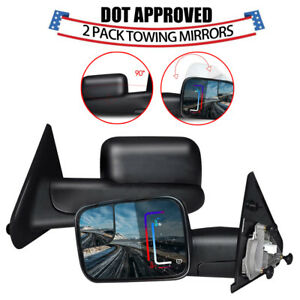 New Power Heat Flip up Towing Side View Mirrors For Dodge Ram 1500 02 08