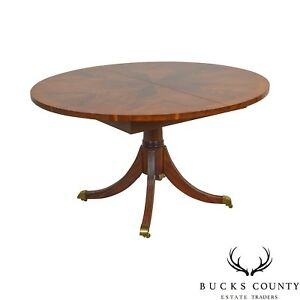 Hekman Flame Mahogany Yew Wood Banded Single Pedestal Dining Table
