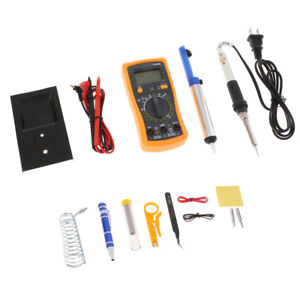 Digital Multimeter Adjustable Temp 60w 110v Soldering Iron Kit Us Plug