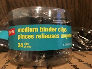 288 Case Staples Medium Binder Clips 1 1 4 Black Silver 12 Packs Of 24 New