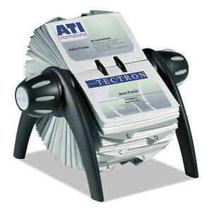 Visifix Flip Rotary Business Card File Holds 400 4 1 8 X 2 7 8 Cards Black sr