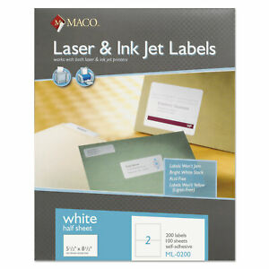 White Laser inkjet Internet Shipping Labels 5 1 2 X 8 1 2 200 box