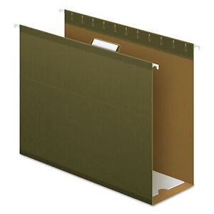 4 Extra Cap Hanging File Folder W box Bottom Letter 1 5 Tab Green 25 box