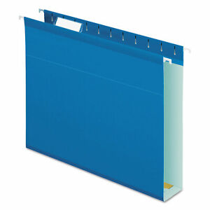 Extra Cap Hanging File Folder W box Bottom Letter 2 Exp 1 5 Tab Blue 25 bx