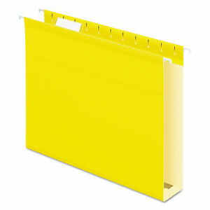 2 Extra Cap Hanging File Folder W box Bottom Letter 1 5 Tab Yellow 25 box