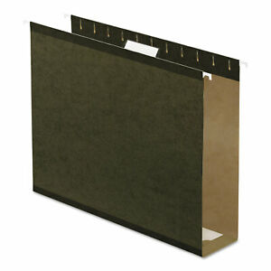 3 Extra Cap Hanging File Folder W box Bottom Letter 1 5 Tab Green 25 box