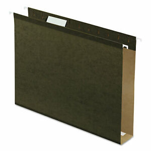 2 Extra Cap Hanging File Folder W box Bottom Letter 1 5 Tab Green 25 box