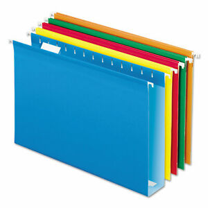 Extra Cap Hanging File Folder W box Bottom Legal 2 Exp 1 5 Tab Asst 25 bx