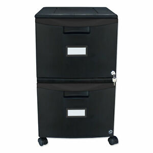 Two drawer Mobile Filing Cabinet 14 3 4w X 18 1 4d X 26h Black