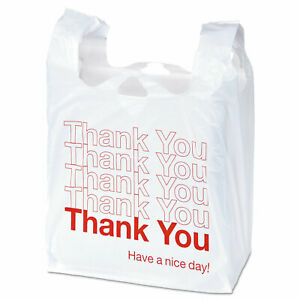 Plastic thank You Shopping Bags 11 1 2 X 6 X 22 0 55 Mil White red 1000 bx