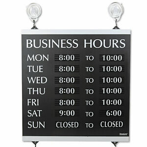 Century Series Business Hours Sign Heavy duty Plastic 13 X 14 Black