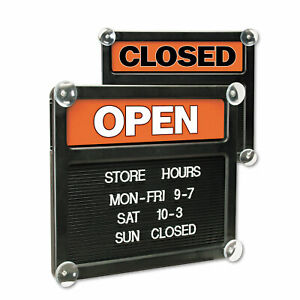 Double sided Open closed Sign W plastic Push Characters 14 3 8 X 12 3 8
