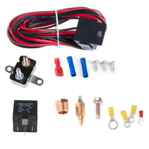 Electric Radiator Engine Fan Relay Kit Thermostat Temperature Switch Universal