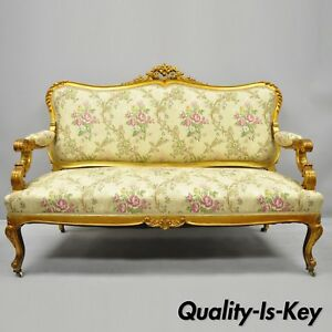 1920s French Louis Xv Style Gold Gilt Settee Loveseat Sofa