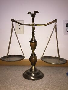 Antique Scales Of Justice W Eagle Finial 17 Tall X 17 Wide