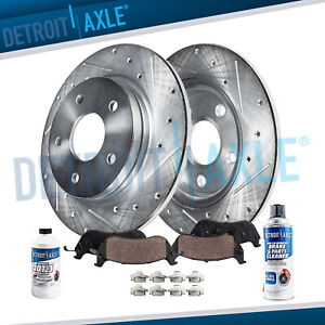 Rear For 2004 2010 Toyota Sienna Drilled Slotted Rotors Ceramic Brake Pads