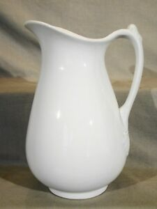 Antique Staffordshire White Ironstone Richard Alcock Tall Water Ewer Pitcher Jug