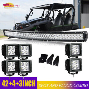 Fit Polaris General 1000 900 42 Curved Led Light Bar Roof Driving Fog Lamp 40