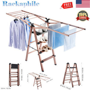 Folding Heavy Duty Ladder Clothes Garment Drying Rack In outdoor Laundry Hanger