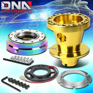 Gold 6 Hole Steering Wheel Hub Adaptor Quick Release Fit Civic Eg Eh Ej Dc Db