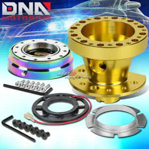 Gold 6 hole Steering Wheel Hub Adaptor quick Release Fit 90 91 Civic integra