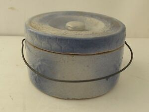 Antique Blue White Stoneware Butter Crock With Lid And Wire Bail